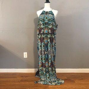 NWT Bisou bisou multi color maxi dress size 16